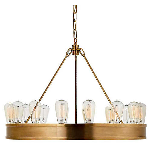 Roark 16-Light Chandelier, Natural Brass
