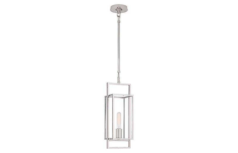 Halle Petite Lantern, Polished Nickel