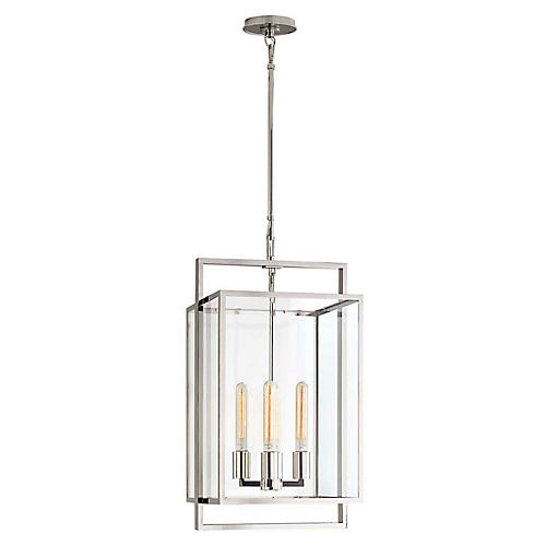 Halle Small Lantern, Polished Nickel