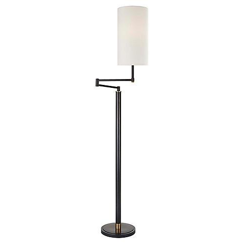 Anton Large Swing-Arm Floor Lamp, Bronze/Brass