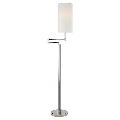 Anton Large Swing-Arm Floor Lamp, Polished Nickel