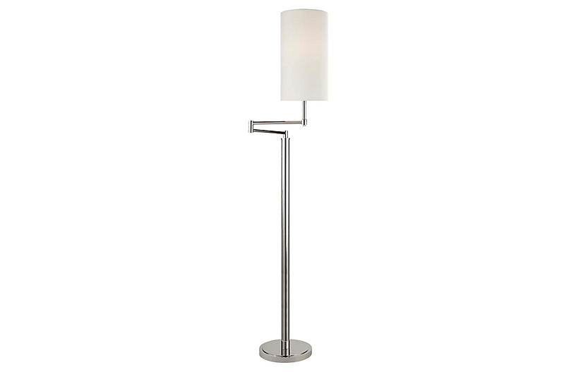 Anton Large Swing-Arm Floor Lamp, Polished Nickel