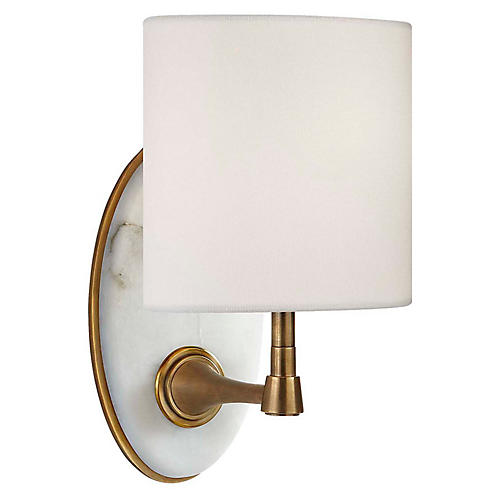 Casper Alabaster Sconce, Antiqued Brass