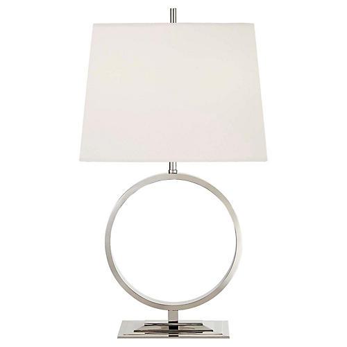 Simone Medium Table Lamp, Polished Nickel