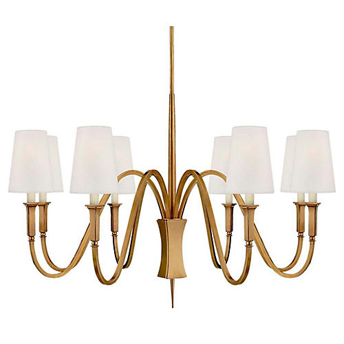 Delphia Medium Chandelier, Antiqued Brass