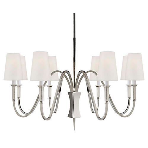 Delphia Medium Chandelier, Polished Nickel
