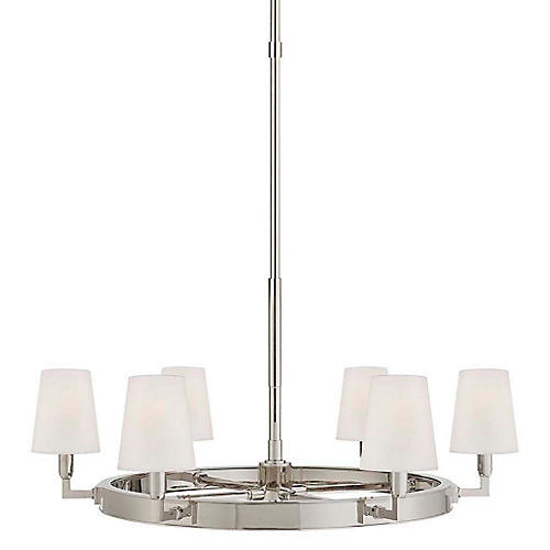 Watson Medium Ring Chandelier, Polished Nickel