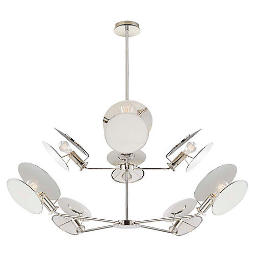 Osiris Reflector Chandelier, Polished Nickel
