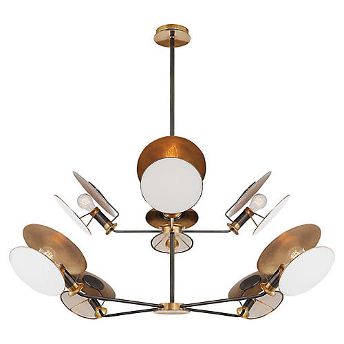 Osiris Reflector Chandelier, Antiqued Brass/Bronze