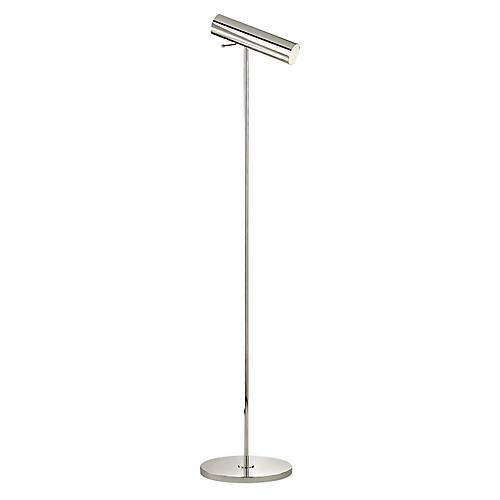 Lancelot Pivoting Floor Lamp, Polished Nickel