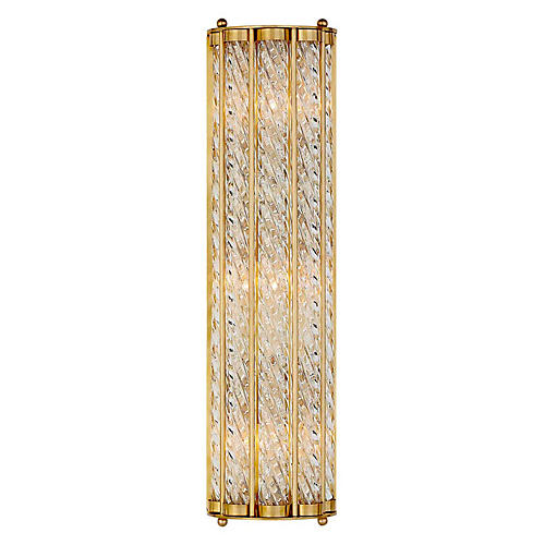 Eaton Linear Sconce, Antiqued Brass