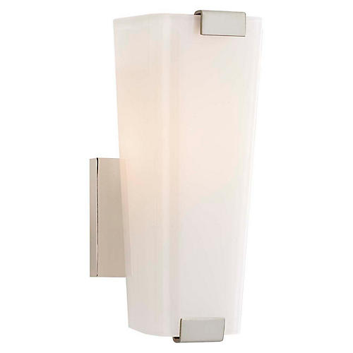 Alpine Single Sconce, Polished Nickel/White