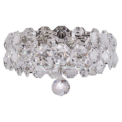 Sanger Crystal Flush Mount, Polished Nickel