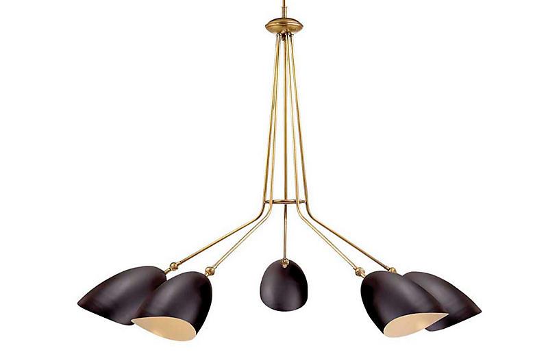 Sommerard 5-Light Chandelier, Black/Brass