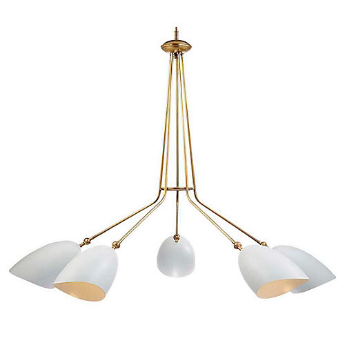 Sommerard 5-Light Chandelier, White/Brass