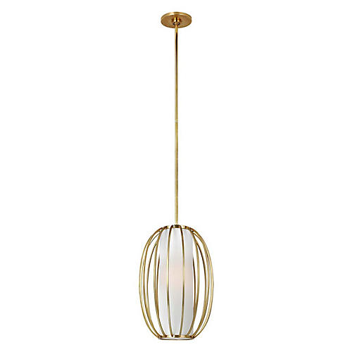 Carousel Oblong Pendant, Soft Brass