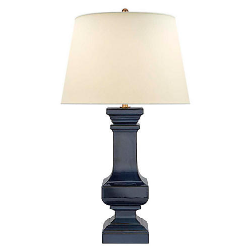 Balustrade Square Table Lamp, Blue-Brown