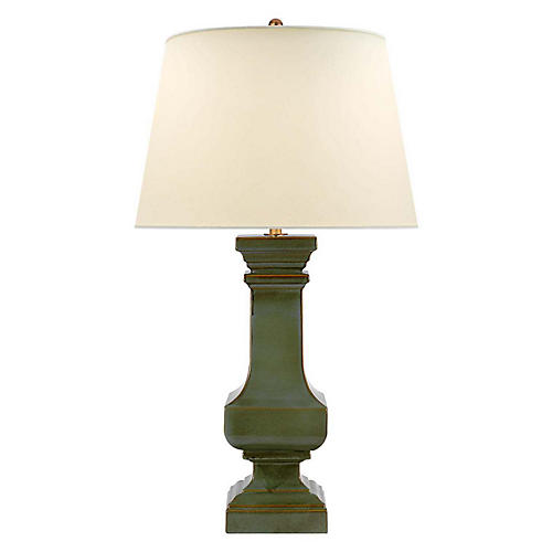 Balustrade Square Table Lamp, Oslo Green