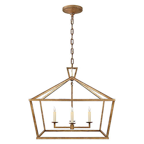 Darlana Wide Lantern, Gilded Iron