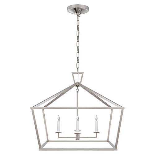 Darlana Wide Lantern, Polished Nickel