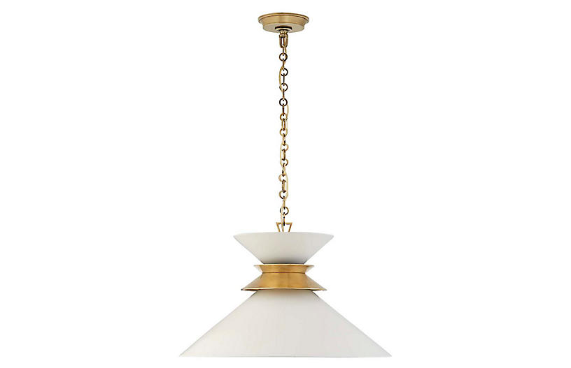 Alborg Large Stacked Pendant, Matte White/Brass