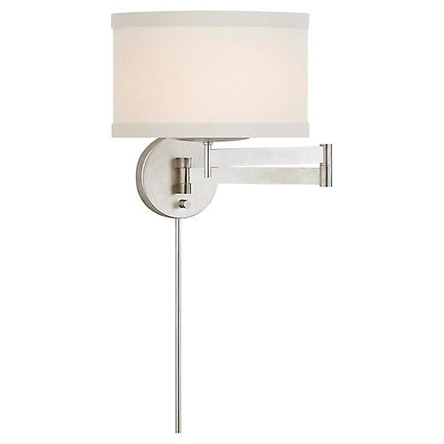 Walker Swing-Arm Sconce, Burnished Silver