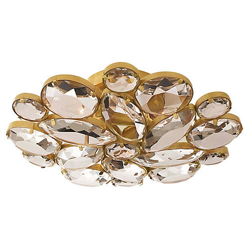 Lloyd Crystal Semi-Flush Mount, Soft Brass