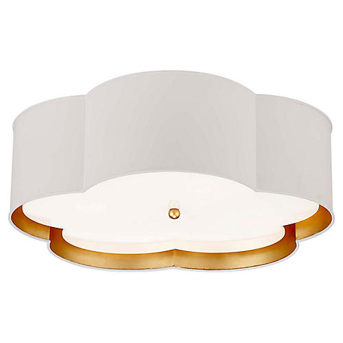 Bryce Flower Flush Mount, White/Gold