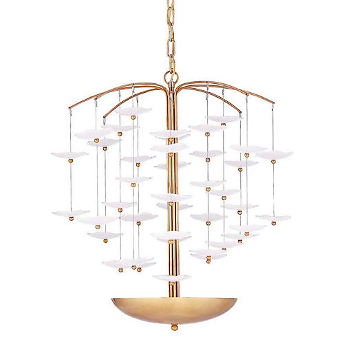 Leighton Cascading Chandelier, Cream/Soft Brass