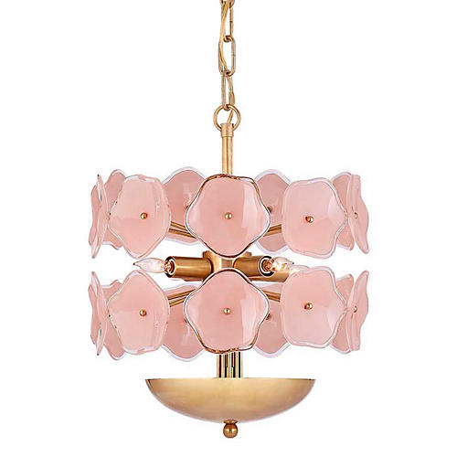 Leighton Chandelier, Blush/Soft Brass