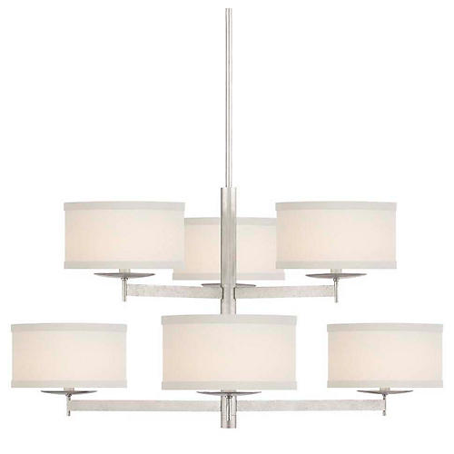 Walker 2-Tier Chandelier, Burnished Silver