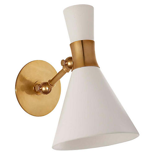 Liam Articulating Sconce, Matte White/Brass