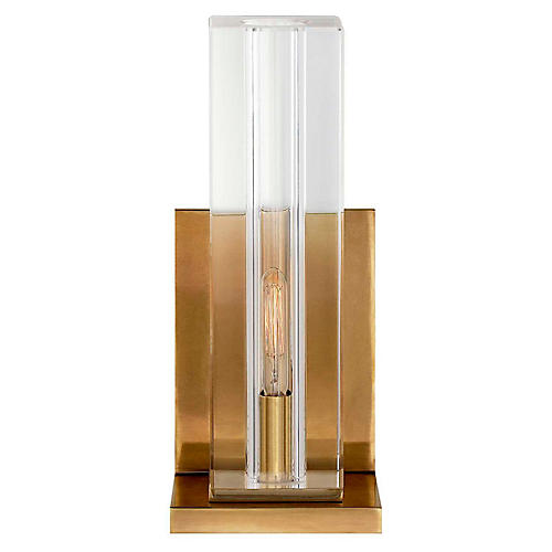 Ambar Tall Crystal Sconce, Antiqued Brass