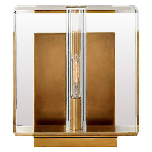 Ambar Small Crystal Sconce, Antiqued Brass