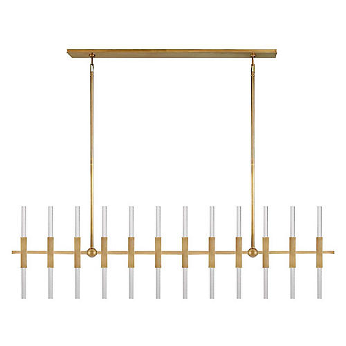 Palomar Linear Chandelier, Antiqued Brass