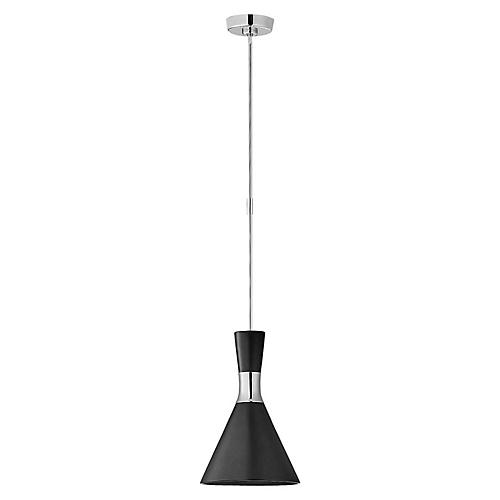 Liam Conical Pendant, Metallic Black/Nickel