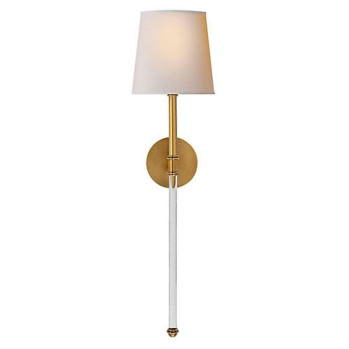 Camille Tail Sconce, Antiqued Brass
