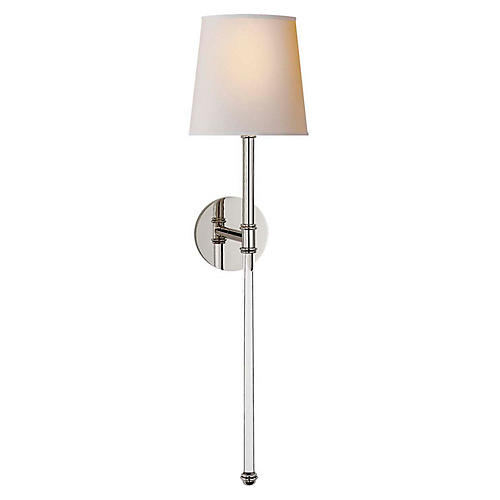 Camille Tail Sconce, Polished Nickel
