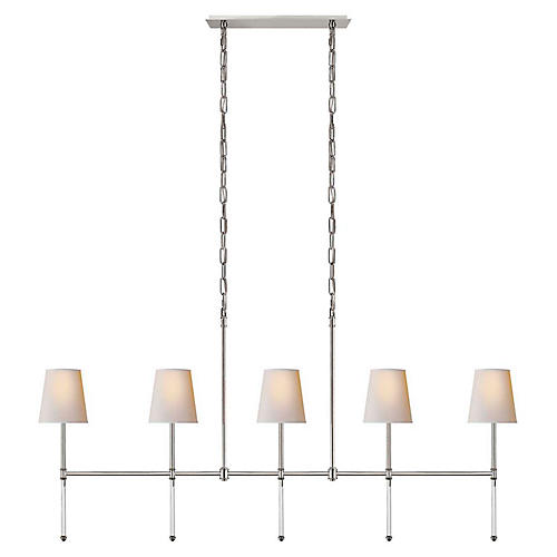 Camille Linear Chandelier, Polished Nickel