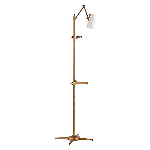 Antonio Articulating Easel Floor Lamp, Brass/White
