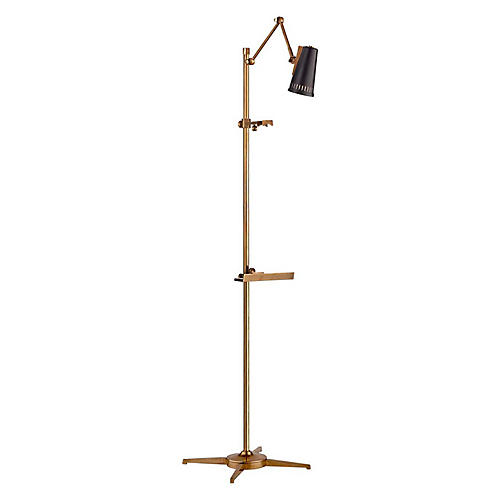 Antonio Articulating Easel Floor Lamp, Brass/Black
