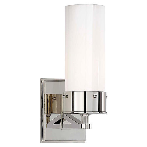 Marais Bath Sconce, Nickel/White