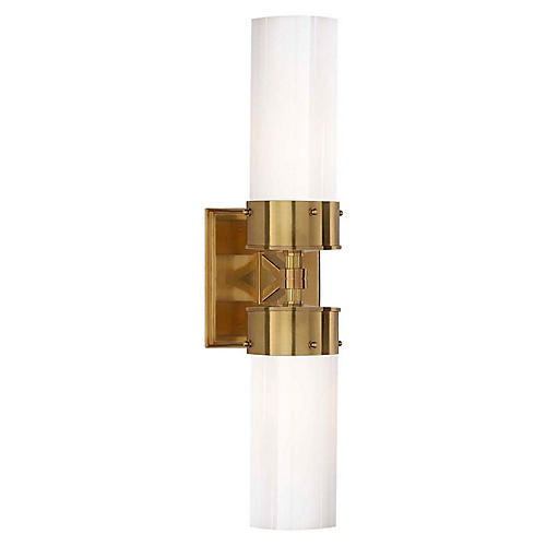 Marais Double Bath Sconce, Brass/White