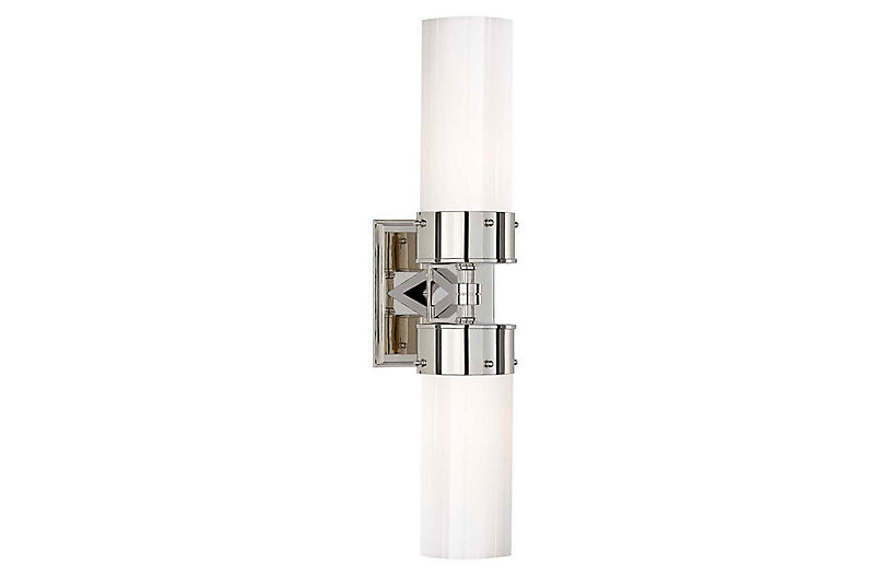 Marais Double Bath Sconce, Nickel/White