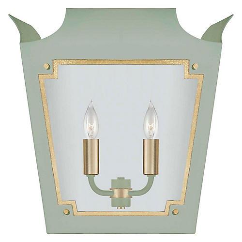 Caddo Lantern Sconce, Celadon