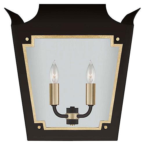 Caddo Lantern Sconce, Matte Black