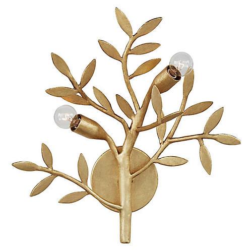 Mandeville Sconce, Antiqued Gold Leaf