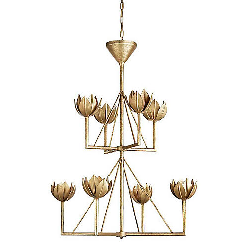 Alberto Chandelier, Antique Gold Leaf