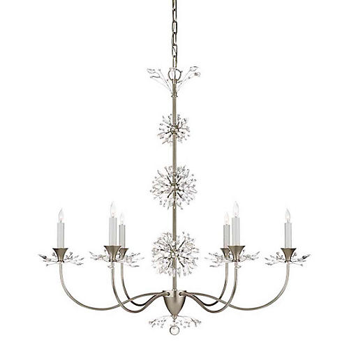 Aspra Chandelier, Burnished Silver Leaf