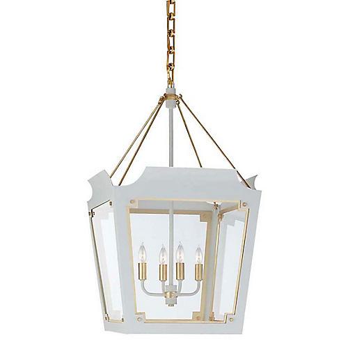 Caddo Lantern, Soft White With Gild